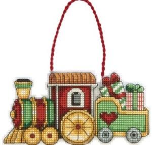 train cross stitch ornament kit