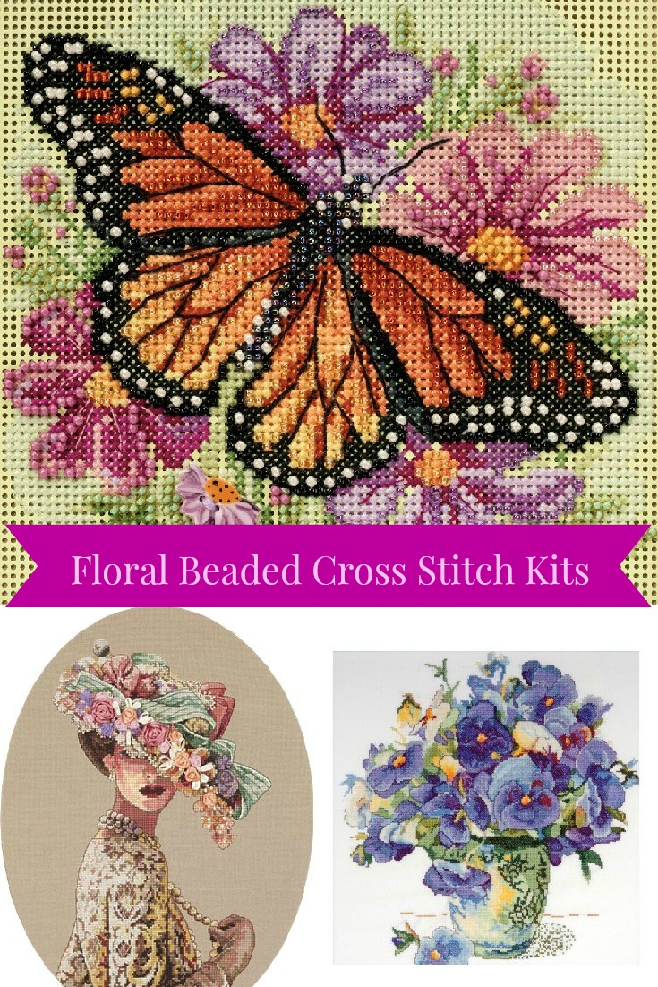 floral beaded cross stitch kits or add to any cross